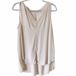 Rebecca Taylor White V neck tank top sheer shirt